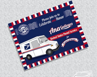 Printable Retirement USPS Invitation Post Card/ FILE ONLY