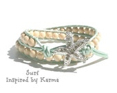 Double Leather Wrap Bracelet- Surf