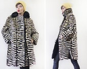 Ivory brown animal print striped real mouton fur women winter outerwear coat S-M