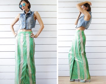 Vintage green pink asymmetric striped front slit high waist floor maxi skirt M