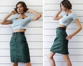 Vintage green textured leather high waist pencil mini skirt M