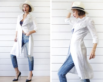 Vintage white blue thin linen elbow sleeve button down duster shirt tunic dress XS