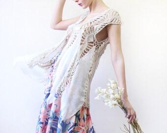 Vintage beige off white long fringe knit bohemian vest