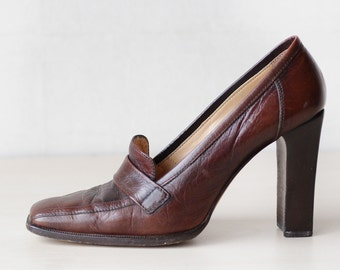 LE SILLA 90s vintage elegant brown leather high chunky block heel shoes 40 9
