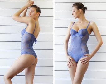 Vintage romantic blue sheer lace underwired bust corset lacing back leotard bodysuit XS