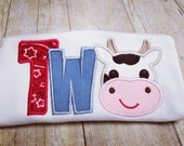 Cow 2nd Birthday - Made to Order - Farm Second Birthday Appliqué Shirt - Multiple Size Options, Onesie Bodysuit