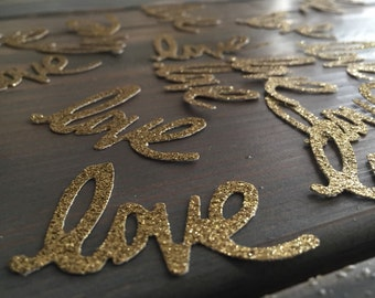 75 Cursive Love in gold glitter paper punches, confetti, table decor, bridal party, engagement, baby shower, Valentines Day party