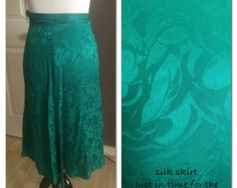 Kelly green silk skirt