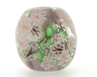 "Big handmade Lampwork Japanese Satake Glass Focal Bead ""Blooming"" A87 SRA Shirley"