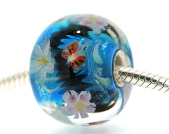 "Huge Teal Lampwork glass bead European Charm Focal bead ""Blossom"" 31 Sterling silver core big hole By Shirley"