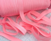 5 Yards Bubblegum Pink Elastic silky 5/8 inch for making baby headbands crafts wholesale supply soft stretchy FOE bright melon hot pink