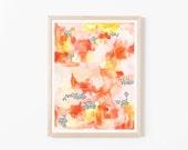 Coral Watercolor Abstract Nursery Art. Nursery Wall Art. Nursery Prints. Nursery Decor. Girl Wall Art. Coral Watercolor Art.