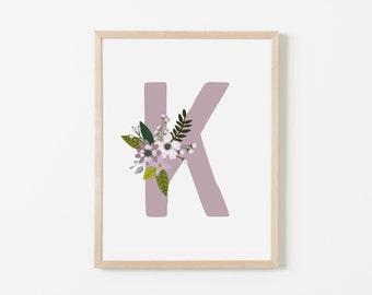 Lavender Bloom K Nursery Art. Nursery Wall Art. Nursery Prints. Nursery Decor. Personalized Wall Art. Monogram Art. Floral Art.