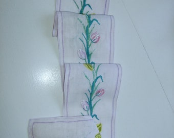 Vintage Swedish hand embroidered table runner with tulips in pastel colors