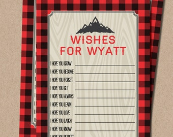 Lumberjack wishes for baby boy buffalo plaid James MB18 Printable