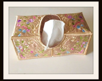 Gold Tissue Box Cover, Floral Tissue Box Cover, Embroidered Tissue Cover