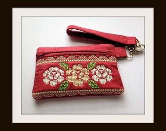 Red Wristlet, Coin Purse, Wallet, Purse, Bags and Purses