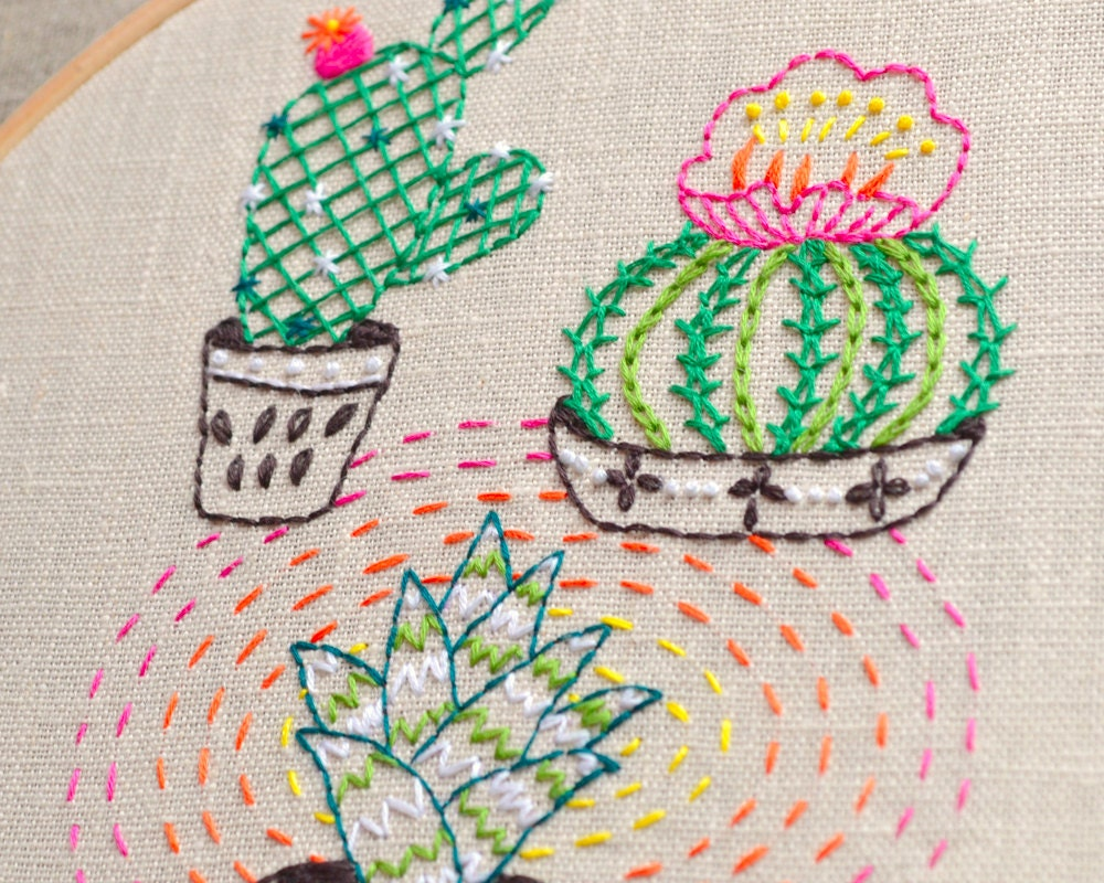 Modern hand embroidery patterns cactus plant