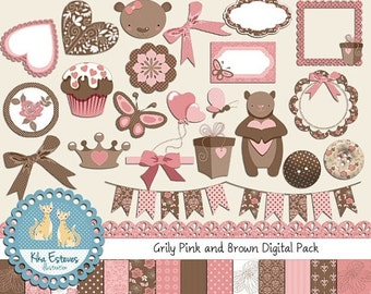 70% SALE Pink and Brown Teddy Digital Clip art and Paper Bundle - Scrapbooking , card design, invitations, web design - INSTANT DOWNLOAD