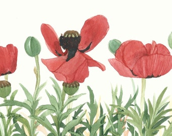Red Poppy Field Original Watercolor Painting