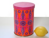Small Tomado canister, 70s op art, orange and hot pink, retro kitchen storage, made in The Netherlands