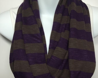 Purple and brown striped knit infinity scarf