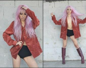 Vintage 80s Corduroy Blazer Jacket Coat XS S M L Hippie Chic