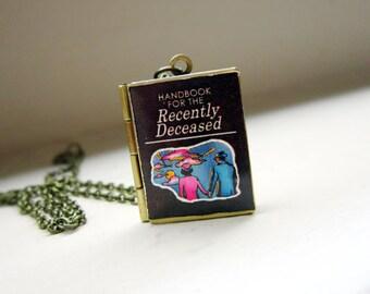 Beetlejuice Handbook for the Recently deceased Locket- metal brass necklace