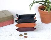 Leather trinket trays