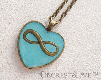 SALE. Infinite love. Polyamory heart. Turquoise colour enamel and brass color bezel. No chain. Available for limited time.
