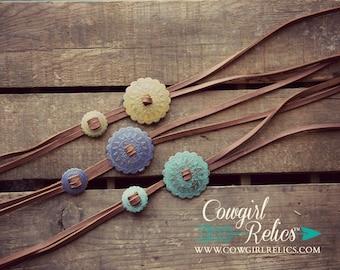 Western Bolo Necklace--Concho, Leather Necklace, Southwest, Boho, Handprinted
