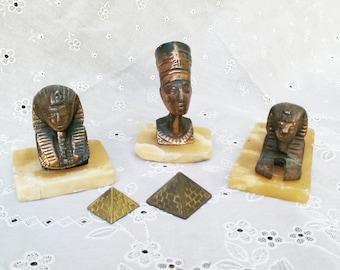 Vintage Egyptian 5 Piece Bronze Alabaster Collection