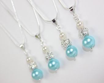 Set of 4 Aqua Blue Pearl Rhinestone Sterling Silver Necklaces Bridesmaid Jewelry, Bridesmaid Gift, Wedding Jewelry, Wedding Gift