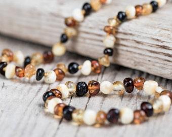 Baltic amber teething necklace and bracelet. Polished