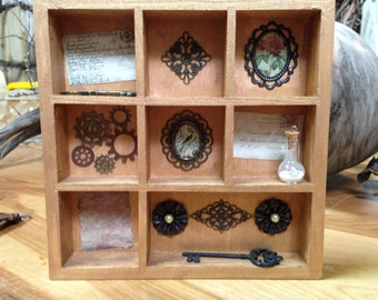 Steampunk curio shadowbox