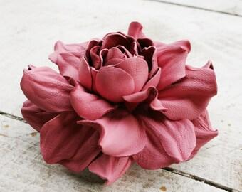 Pink Leather Rose Flower Brooch