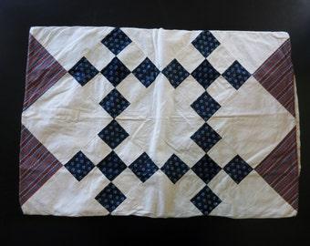 Antique Pennsylvania patchwork pillowcase, pre-1850, nine-patch quilt design