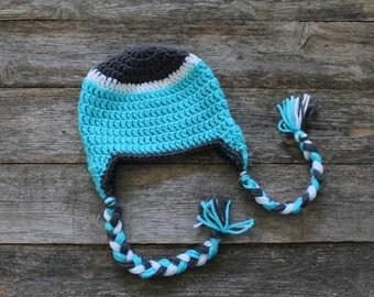 Baby Hat with Braided Tassels in Teal, Dark Gray & White, 6-12 Months, Photo Prop, Gift