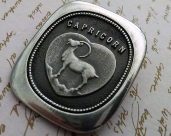 Necklace Vintage Capricorn Norwegian Norseman Pewter Signed Unisex Custom Size SP Chain Included Wear as Necklace or Brooch Zodiac Sign