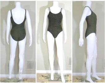PILPEL Dark Olive Green One Piece Swimsuit US Size 14