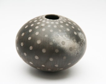 Spotted Ceramic Pot - Sawdust Fired Vessel