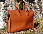 Cognac Briefcase (large) - Handstitched leather briefcase