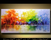 contemporary wall art, Modern Landscape Painting,textured impasto palette knife painting, Home Decor,Textured Painting on Canvas by Chen x69