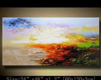Modern Ocean painting Abstract Large ORIGINAL Painting Textured Painting,  Home wall art  acrylic art Painting on Canvas  by Chen B08