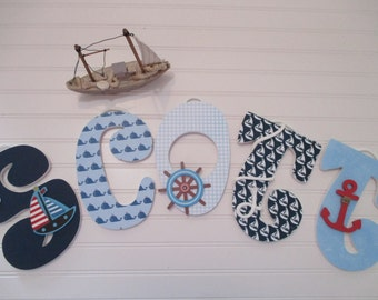 "SCOTT - 12.00 PER letter boy's name, 9"" wood letters, nursery, initials, nautical theme, sail boat, ship's anchor, ship's wheel"