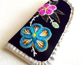 Ojibway Beaded EyeGlass Case Holder with Quill work BLue and Pink - Authentic Native Craft