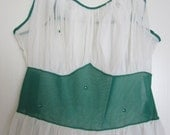 Stunning Emerald Green and Cream Vintage Nightgown