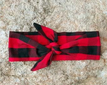 Buffalo Plaid Knot Headband, Plaid Head Wrap, Red and Black Check Plaid, Child's Turban, Girls Hair Bow, Baby Christmas, Newborn to Adult