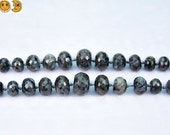 19 inch strand of Black labradorite 128 faceted graduated rondelle beads 5x8-15x20mm