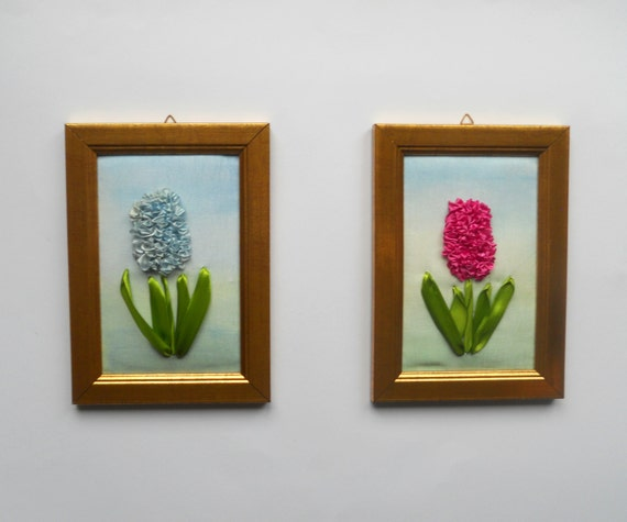 Fiber art embroidery ribbon flowers picture wall by natynatyva